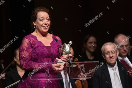 Swedish opera singer Nina Stemme poses on stage after receiving the European Cultural Award Taurus for music during during the European Cultural Award Gala in Vienna, Austria, 20 October 2019.