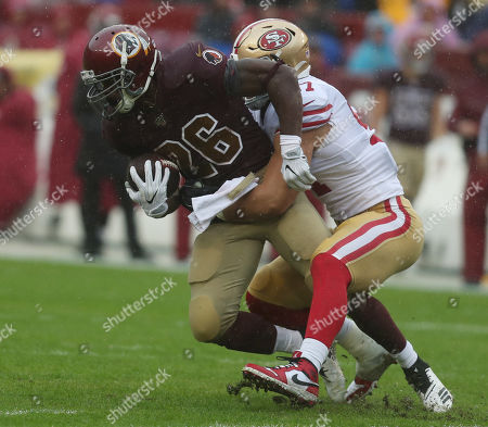 Stock Image of Washington Redskins RB Adrian Peterson (26) in action during a game against the San Francisco 49ers at FedEx Field in Landover, Maryland on Photo/ Mike Buscher / Cal Sport Media