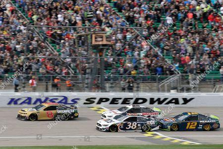 Stock Photo of Daniel Hemric, David Ragan, Brad Keselowski, Ryan Blaney. Daniel Hemric (8) takes the green flag with David Ragan (38), Brad Keselowski (2) and Ryan Blaney (12) during a NASCAR Cup Series auto race at Kansas Speedway in Kansas City, Kan
