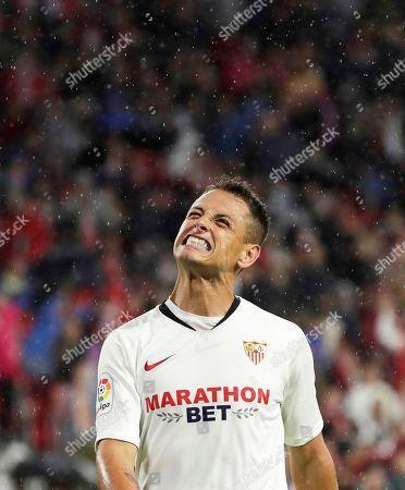 Sevilla's Javier Hernandez 'Chicharito' reacts during the Spanish La Liga soccer match between Sevilla FC and Levante UD at Sanchez Pizjuan stadium in Seville, southern Spain, 20 October 2019.