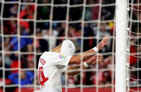 Stock Photo of Sevilla's Javier Hernandez 'Chicharito' reacts during the Spanish La Liga soccer match between Sevilla FC and Levante UD at Sanchez Pizjuan stadium in Seville, southern Spain, 20 October 2019.