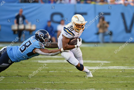 Nashville TN, USA Los Angeles Chargers running back Austin Ekeler (30) runs the ball during a game between the Los Angeles Chargers and the Tennessee Titans at Nissan Stadium in Nashville TN. (Mandatory Photo Credit: Steve Roberts/CSM)