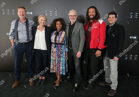 EXCLUSIVE - Screenwriter Steven Knight, Exec. Producer Jenno Topping, Alfre Woodard, Director Francis Lawrence, Jason Momoa and Exec. Producer Dan Shotz at Apple TV+ press day for 'See'  a new drama premiering on Apple TV+, the first all-original video subscription service, launching November 1 on the Apple TV app.