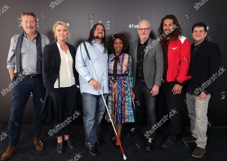 EXCLUSIVE - Screenwriter Steven Knight, Exec. Producer Jenno Topping, Associate Producer Joe Strechay, Alfre Woodard, Director Francis Lawrence, Jason Momoa and Exec. Producer Dan Shotz at Apple TV+ press day for 'See'  a new drama premiering on Apple TV+, the first all-original video subscription service, launching November 1 on the Apple TV app.