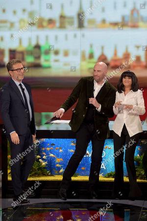 Fabio Fazio, John Travolta and Luciana Littizzetto