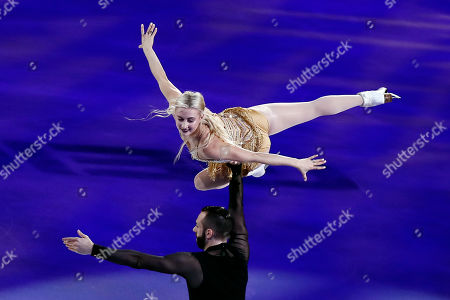 Ashley Cain-Gribble and Timothy LeDuc for the US perform during the exhibition program of the 2019 Skate America competition at the Orleans Arena in Las Vegas, Nevada, USA, 20 October 2019.