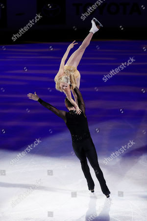 Stock Picture of Ashley Cain-Gribble and Timothy LeDuc for the US perform during the exhibition program of the 2019 Skate America competition at the Orleans Arena in Las Vegas, Nevada, USA, 20 October 2019.