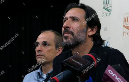 Actor Jose Maria Yazpik, who directed the Mexican film Polvo, attends a press conference during the Morelia Film Festival in Morelia, Mexico