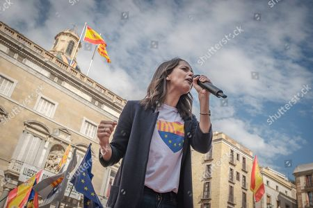Stock Image of Ines Arrimadas Garcia leader of the center-right party Citizens in Catalonia speaks during the mass act of justice and coexistence in Plaza de Sant Jaume.