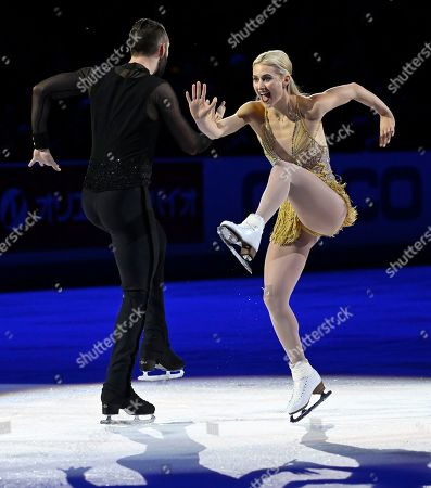 Stock Photo of Ashley Cain-Gribble and Timothy Leduc, of the United States, perform during the International Skating Union Grand Prix of Figure Skating Series exhibition, in Las Vegas