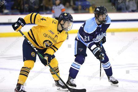 Quinnipiac forward Michael Lombardi (4) and Maine forward Edward Lindelow (21) wait for a face-off during an NCAA college hockey game, in Hamden, Conn. Quinnipiac won 4-3