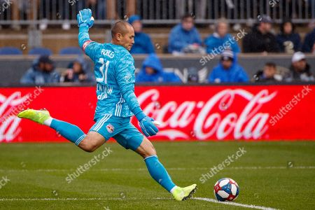 New York Red Bulls' Luis Robles in action during first half of an MLS soccer Eastern Conference first-round playoff match against the Philadelphia Union, in Chester, Pa. The Union won 4-3 in extra time