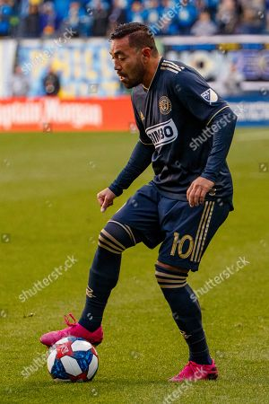 Philadelphia Union's Marco Fabian in action during extra time of an MLS soccer Eastern Conference first-round playoff match against the New York Red Bulls, in Chester, Pa. The Union won 4-3 in extra time