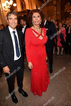 Stock Photo of Carlo Ponti Jr and Sophia Loren