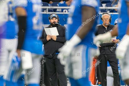 DETROIT, MI - : Detroit Lions head coach Matt Patricia and defensive coordinator Paul Pasqualoni look on during NFL game between Minnesota Vikings and Detroit Lions on at Ford Field in Detroit, MI