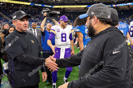 DETROIT, MI - : Detroit Lions head coach Matt Patricia and Minnesota Vikings head coach Mike Zimmer shake hands at midfield following the NFL game between Minnesota Vikings and Detroit Lions on at Ford Field in Detroit, MI