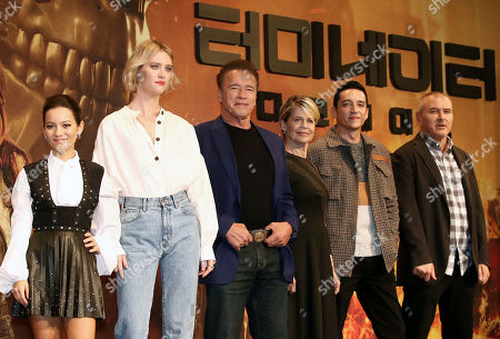 Colombian actress Natalia Reyes, Canadian actress Mackenzie Davis, Austrian-American actor Arnold Schwarzenegger, US actress Linda Hamilton, US actor Gabriel Luna and US director Tim Miller pose during a press conference for the movie 'Terminator: Dark Fate' in Seoul, South Korea, 21 October 2019.