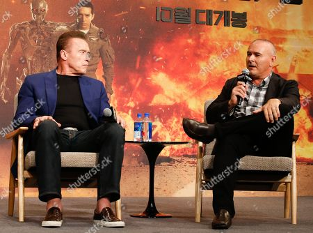 Arnold Schwarzenegger (L) and US director Tim Miller (R) attend a media event for the movie 'Terminator: Dark Fate' in Seoul, South Korea, 21 October 2019. The movie will open in South Korea's theaters on 30 October 2019.