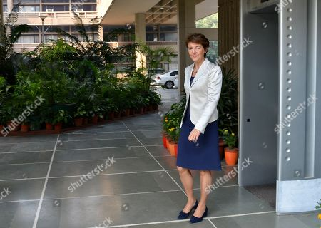 Vice President of the Swiss Federal Council, Simonetta Sommaruga (C), leaves the Ministry of Civil Aviation building in New Delhi, India, 21 October 2019. Sommaruga is on an official visit to India from 18 to 21 October 2019.
