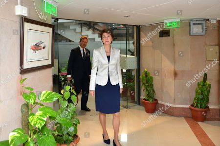 Vice President of the Swiss Federal Council, Simonetta Sommaruga (C), arrives at the Ministry of Civil Aviation building in New Delhi, India, 21 October 2019. Sommaruga is on an official visit to India from 18 to 21 October 2019.