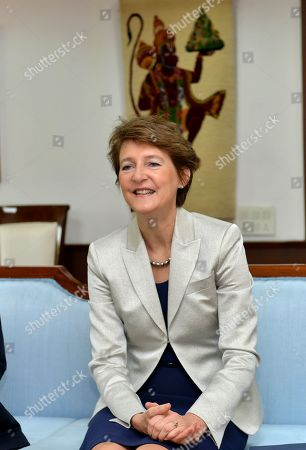 Vice President of the Swiss Federal Council, Simonetta Sommaruga, talks to Indian Civil Aviation Minister Puri in New Delhi, India, 21 October 2019. Sommaruga is on an official visit to India from 18 to 21 October 2019.