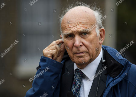 Stock Image of Former Lib Dem leader Vince Cable MP is seen talking to media in Westminster, London. Last week Parliament sat on a Saturday for the first time since 1982, but failed to vote on Boris Johnson's new Brexit deal.