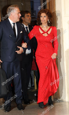 Stock Picture of Sophia Loren, Carlo Ponti Jr.