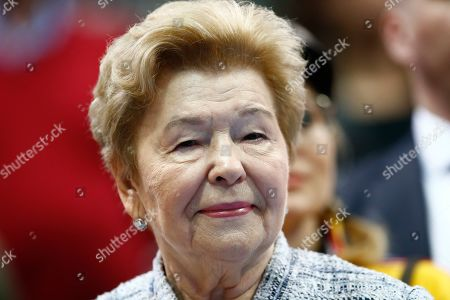 Stock Picture of Adrian Mannarino. Naina Yeltsin, widow of the first Russian President Boris Yeltsin watches the final match of the Kremlin Cup tennis tournament in Moscow, Russia