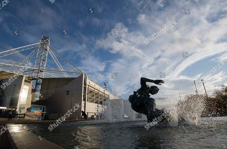 A general view of the Tom Finney 'Splash' statue outside the stadium