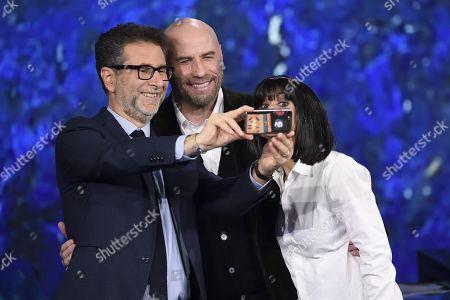 Stock Image of Fabio Fazio, actor John Travolta,  Luciana Littizzetto