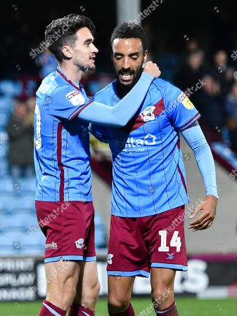 Stock Picture of Alex Gilliead of Scunthorpe United celebrates his goal with James Perch 3-1