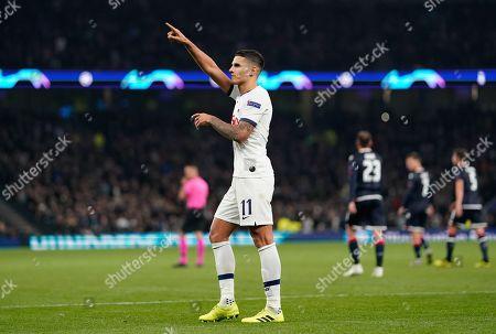 Erik Lamela of Tottenham Hotspur celebrates scoring Tottenham Hotspur?s fourth goal of the night