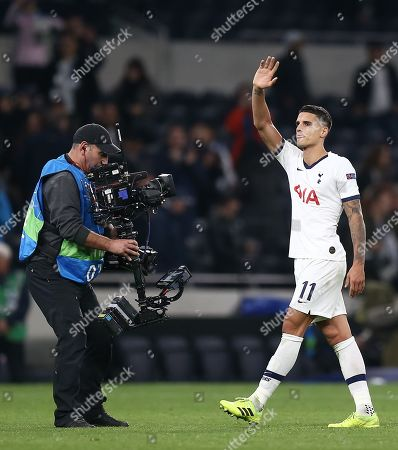 Erik Lamela of Tottenham Hotspur acknowledges the fans