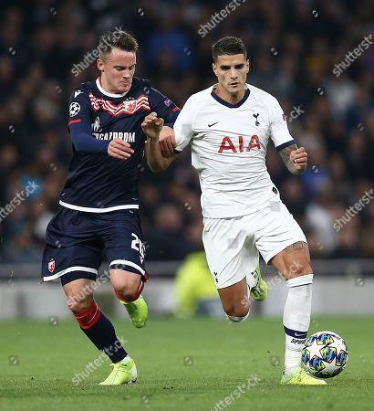 Stock Image of Njegos Petrovic of Red Star and  Erik Lamela of Tottenham Hotspur
