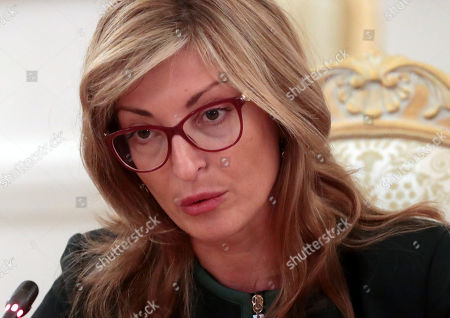 Stock Photo of Bulgarian Foreign Minister Ekaterina Zaharieva speaks with her Russian counterpart during their meeting at the Foreign Ministry guest house in Moscow, Russia, 21 October 2019.