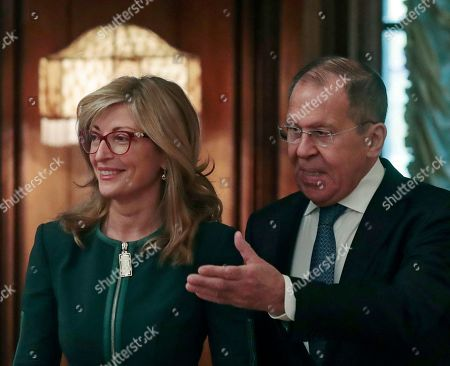 Stock Image of Russian Foreign Minister Sergei Lavrov (R) and Bulgarian Foreign Minister Ekaterina Zaharieva (L) arrive for talks at their meeting at the Foreign Ministry guest house in Moscow, Russia, 21 October 2019.