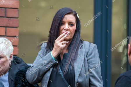 Kelly Meadows arrives at Leeds Crown Court this morning. 5 members of Leeds based paedophile hunting group Predator Exposure are appearing at Leeds Crown Court today. Phillip Hoban, Jordan McDonald, Jordan Plain, Dean Walls and Kelly Meadows are all accused of false imprisonment of a man in Chapel Allerton, Leeds. Hoban, 44, McDonald, 18, Plain, 25, and Walls, 51, also denied assaulting same man on same date, Hoban, Meadows, 39, and McDonald denied further charge of false imprisonment of another man in Ackton, near Pontefract.