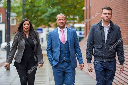 Left to right Kelly Meadows, Phillip Hoban & Jordan McDonald arrive at Leeds Crown Court this morning. 5 members of Leeds based paedophile hunting group Predator Exposure are appearing at Leeds Crown Court today. Phillip Hoban, Jordan McDonald, Jordan Plain, Dean Walls and Kelly Meadows are all accused of false imprisonment of a man in Chapel Allerton, Leeds. Hoban, 44, McDonald, 18, Plain, 25, and Walls, 51, also denied assaulting same man on same date, Hoban, Meadows, 39, and McDonald denied further charge of false imprisonment of another man in Ackton, near Pontefract.