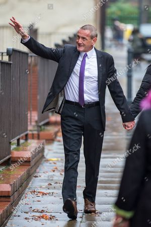Dean Walls arrives at Leeds Crown Court this morning. 5 members of Leeds based paedophile hunting group Predator Exposure are appearing at Leeds Crown Court today. Phillip Hoban, Jordan McDonald, Jordan Plain, Dean Walls and Kelly Meadows are all accused of false imprisonment of a man in Chapel Allerton, Leeds. Hoban, 44, McDonald, 18, Plain, 25, and Walls, 51, also denied assaulting same man on same date, Hoban, Meadows, 39, and McDonald denied further charge of false imprisonment of another man in Ackton, near Pontefract.