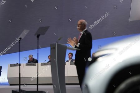 Ola Kaellenius, Dieter Zetsche. Incoming Daimler CEO Ola Kaellenius, at right in rear, attends the speech of Daimler CEO Dieter Zetsche, right, during the annual shareholder meeting of the car manufacturer Daimler in Berlin, Germany