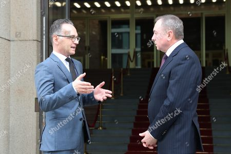 Belarusian Foreign Minister Vladimir Makei (R) and German Foreign Minister Heiko Maas  talk after a joint press conference at the German Federal Foreign Office in Berlin, Germany, 21 October 2019. Foreign Minister Makei met the German counterpart in the German capital and had a conversation on bilateral issues.