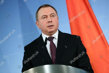 Belarusian Foreign Minister Vladimir Makei attends a joint press conference with his German counterpart in Berlin, Germany, 21 October 2019. Foreign Minister Makei met the German counterpart in the German capital and had a conversation on bilateral issues.