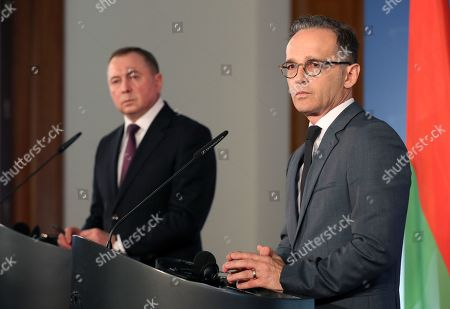 Belarusian Foreign Minister Vladimir Makei (L) and German Foreign Minister Heiko Maas attend a joint press conference at the German Federal Foreign Office in Berlin, Germany, 21 October 2019. Foreign Minister Makei met the German counterpart in the German capital and had a conversation on bilateral issues.