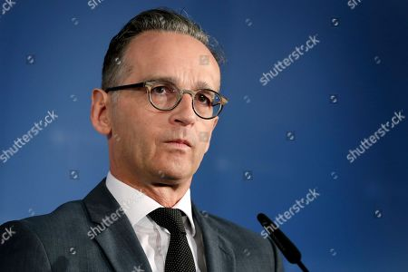 Stock Photo of German Foreign Minister Heiko Maas attends a joint press conference with the Foreign Minister of Belaruss, Vladimir Makei, after a meeting in Berlin, Germany
