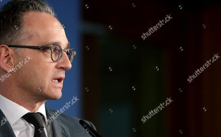 Stock Picture of German Foreign Minister Heiko Maas attends a joint press conference with the Foreign Minister of Belaruss, Vladimir Makei, after a meeting in Berlin, Germany