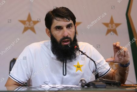 Pakistan's cricket chief selector and head coach Misbah-ul-Haq speaks to reporters at Pakistan Cricket Board in Lahore, Pakistan, . Pakistan has named two rookie fast bowlers for next month's two-test series against Australia and Mohammad Rizwan has replaced wicketkeeper Sarfaraz Ahmed