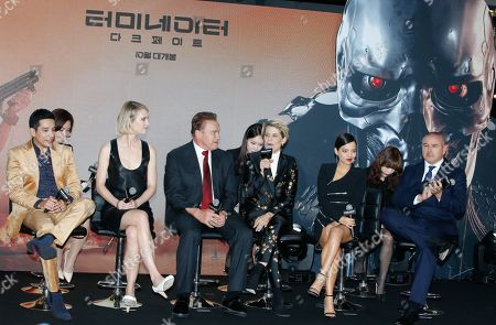 Gabriel Luna, Canadian actress Mackenzie Davis, Austrian-American actor Arnold Schwarzenegger, US actress Linda Hamilton, Colombian actress Natalia Reyes and US director Tim Miller attend the premiere of 'Terminator: Dark Fate' at IFC mall in Seoul, South Korea, 21 October 2019. The movie will open in South Korean theaters on 30 October 2019.