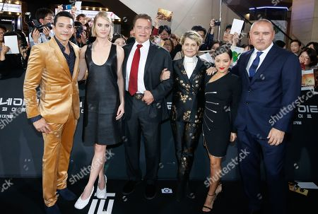 Gabriel Luna, Canadian actress Mackenzie Davis, Austrian-American actor Arnold Schwarzenegger, US actress Linda Hamilton, Colombian actress Natalia Reyes, and US director Tim Miller pose for photographs as they arrive for the premiere of 'Terminator: Dark Fate' at the IFC mall in Seoul, South Korea, 21 October 2019. The movie will open in South Korean theaters on 30 October 2019.