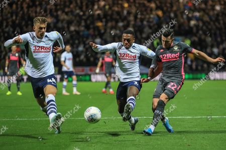 22nd October 2019, Deepdale, Preston, England; Sky Bet Championship, Preston North End v Leeds United : Jack Harrison (22) of Leeds United sees his cross deflected out by Brad Potts (44) of Preston North End  