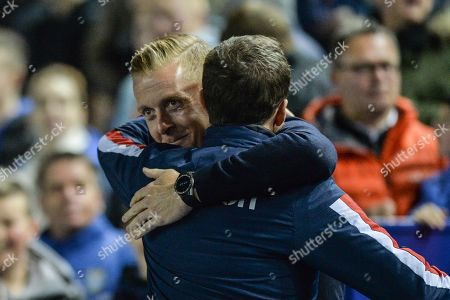 22nd October 2019, Hillsborough, Sheffield, England; Sky Bet Championship, Sheffield Wednesday v Stoke City :Gary Monk Manager of Sheffield Wednesday and Nathan Jones Manager of Stoke City share a word prior to kick off.